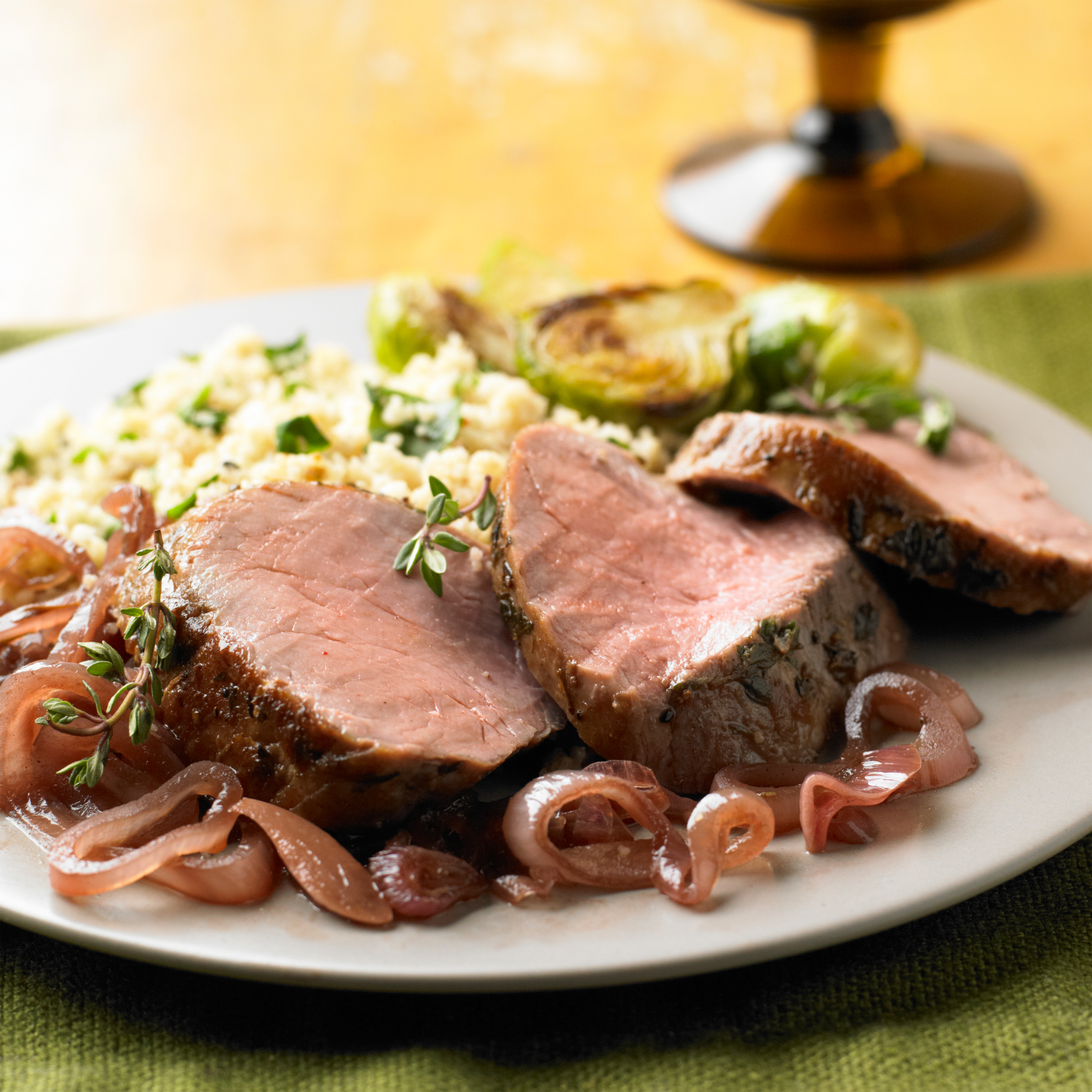 Thyme-Roasted Pork Tenderloin With Balsamic Shallot
