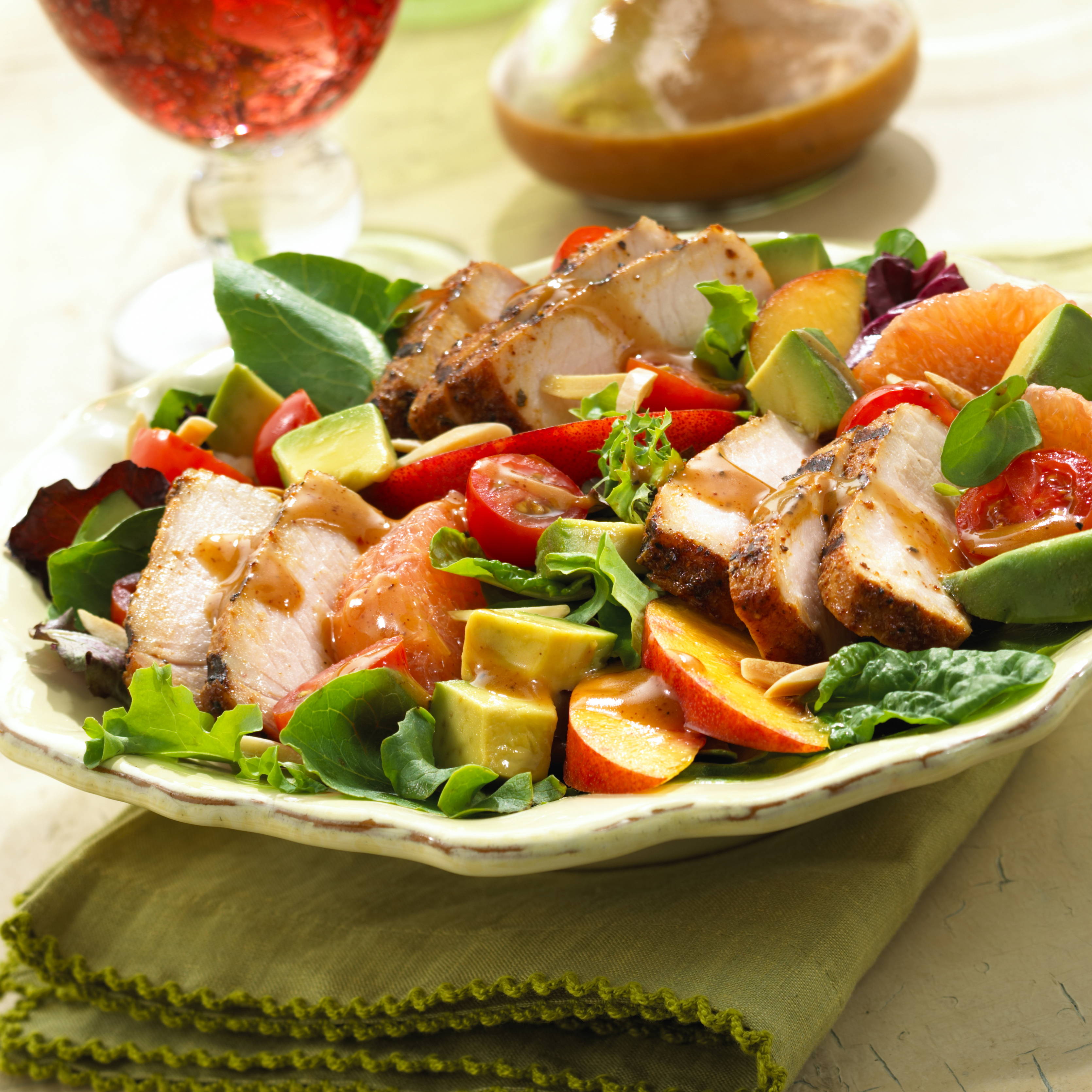 BBQ Pork Salad with Summer Fruits & Honey Balsamic ...