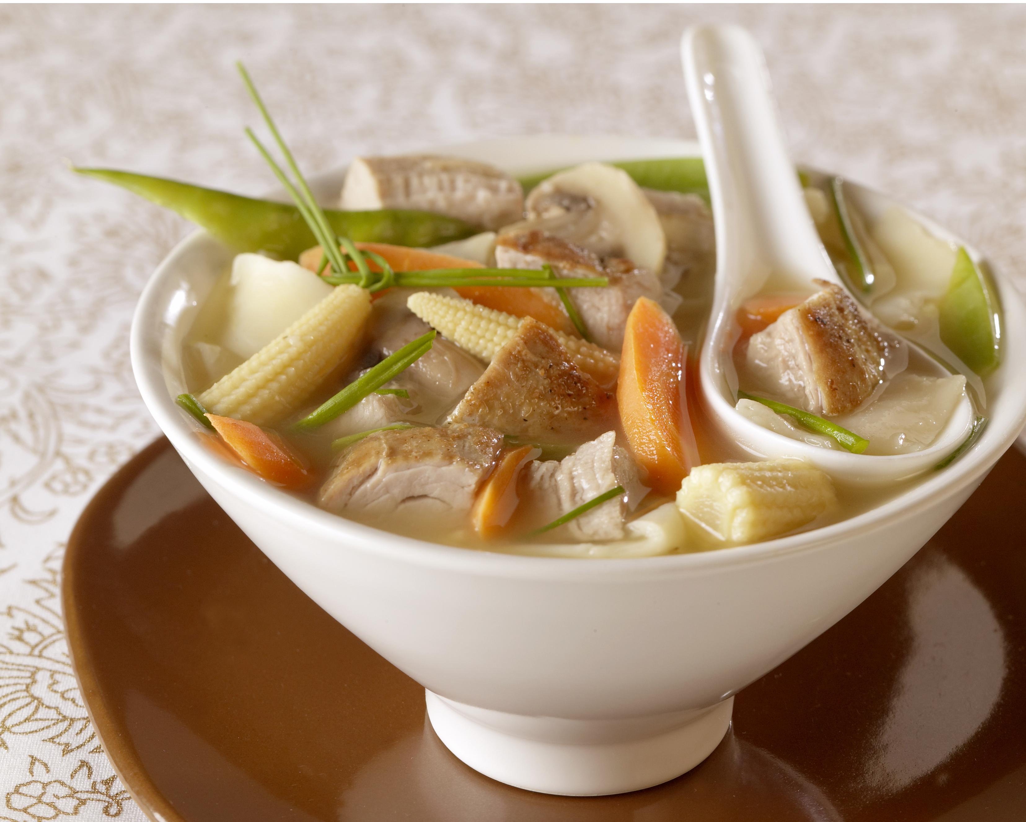 Gingered Pork Vegetable Soup With Wonton Noodles