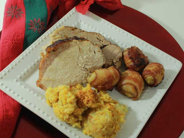 Apple-Glazed Pork Loin Roast with Crushed Pineapple Stuffing