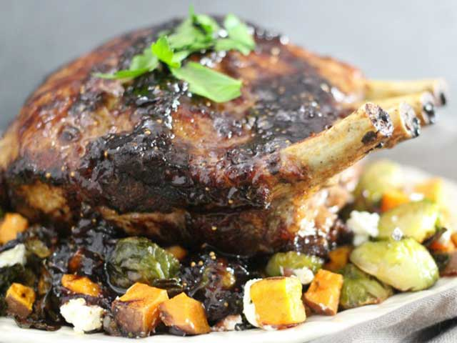 Fig Glazed Rack of Pork with Roasted Brussels Sprouts and Sweet Potatoes