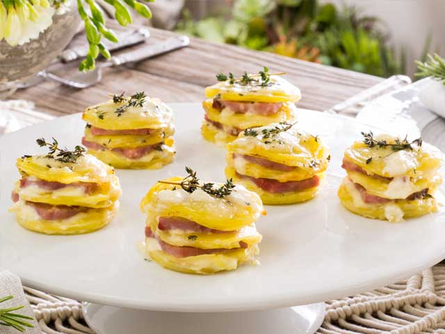 Ham Stacks Au Gratin with Thyme