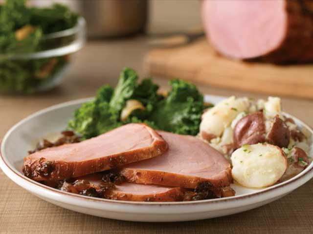 Honey Balsamic-Glazed Ham with Garlic Kale and Smashed Potatoes