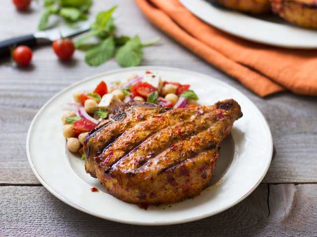 Piri-Piri Pork Chops with Chickpea and Tomato Salad