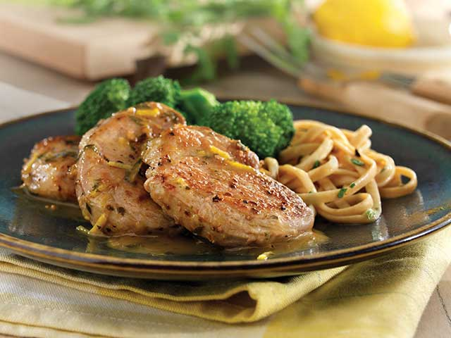 Sauteed Pork Tenderloin Medallions with Lemon-Garlic Sauce
