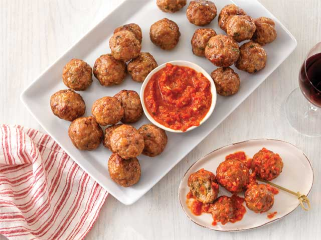 Stuffed Pork Meatballs with Romesco Sauce