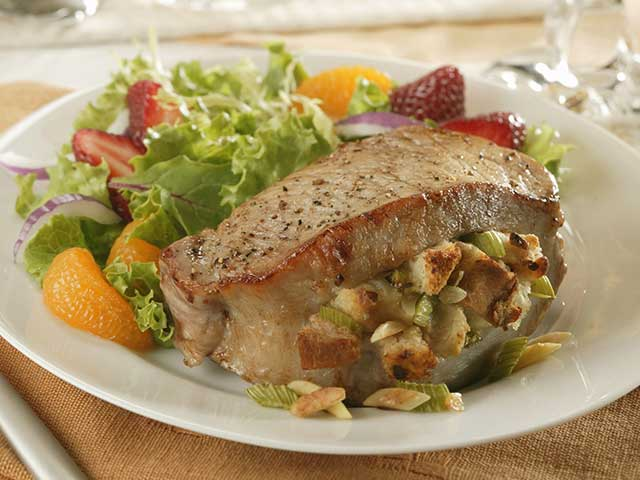 Almond-Stuffed Pork Chops