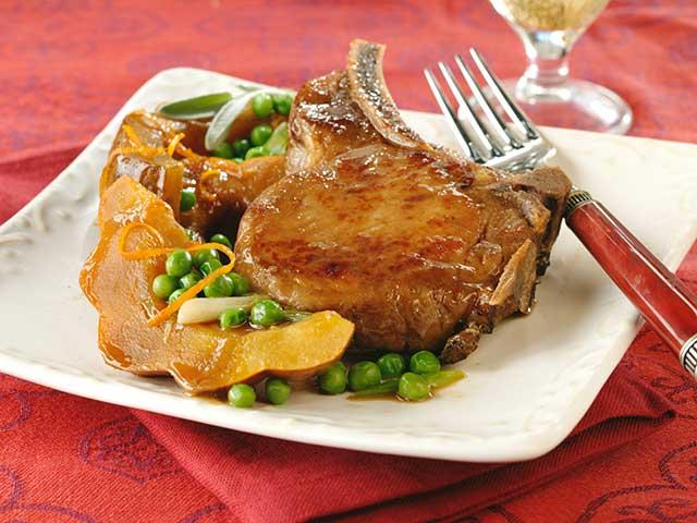 Autumn Vegetables and Pork Chops