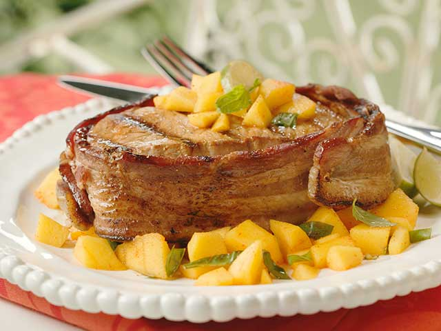 Bacon-Wrapped Pork with Spicy Mango-Basil Relish