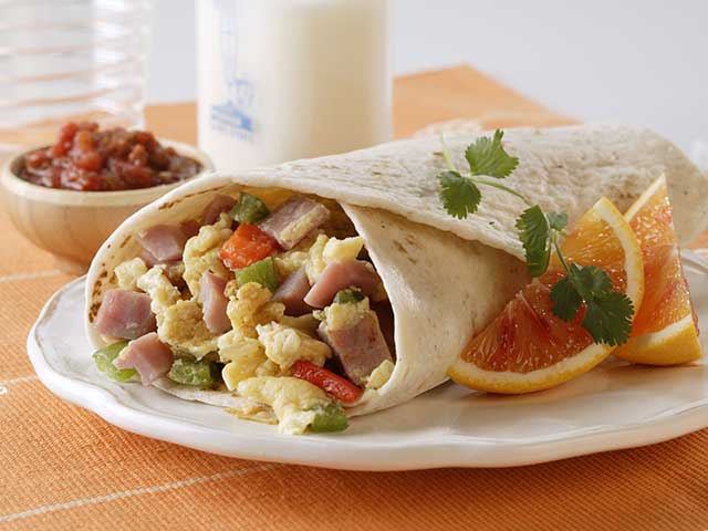Ham and Egg Breakfast Burritos